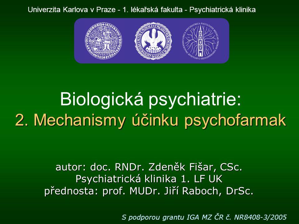 Biologická psychiatrie: 2. Mechanismy účinku psychofarmak