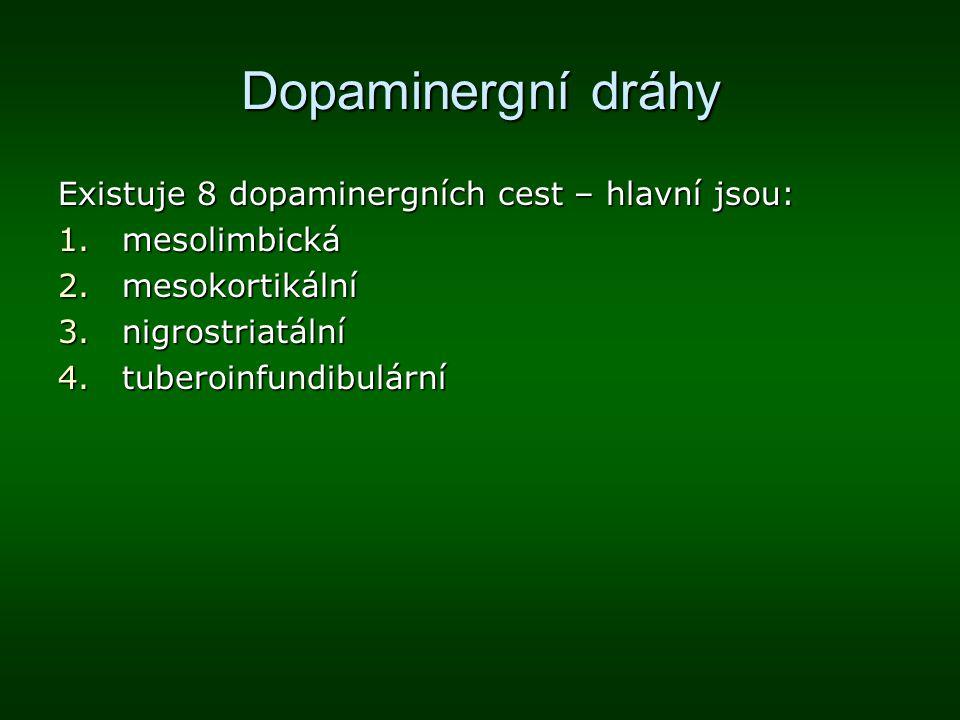 Dopaminergní dráhy Existuje 8 dopaminergních cest – hlavní jsou: