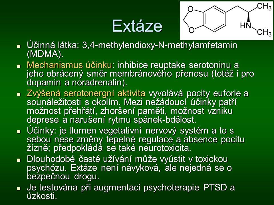 Extáze Účinná látka: 3,4-methylendioxy-N-methylamfetamin (MDMA).