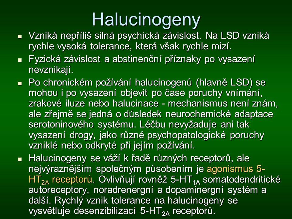 Halucinogeny Vzniká nepříliš silná psychická závislost. Na LSD vzniká rychle vysoká tolerance, která však rychle mizí.