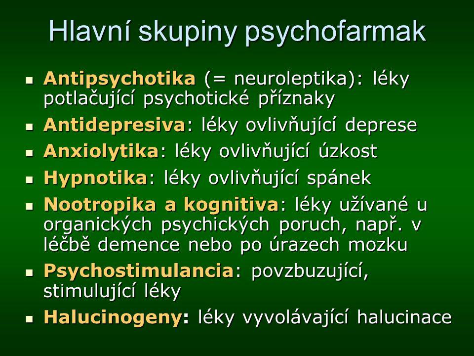 Hlavní skupiny psychofarmak