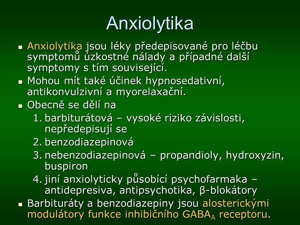 Anxiolytika Anxiolytika jsou léky předepisované pro léčbu symptomů úzkostné nálady a případné další symptomy s tím související.