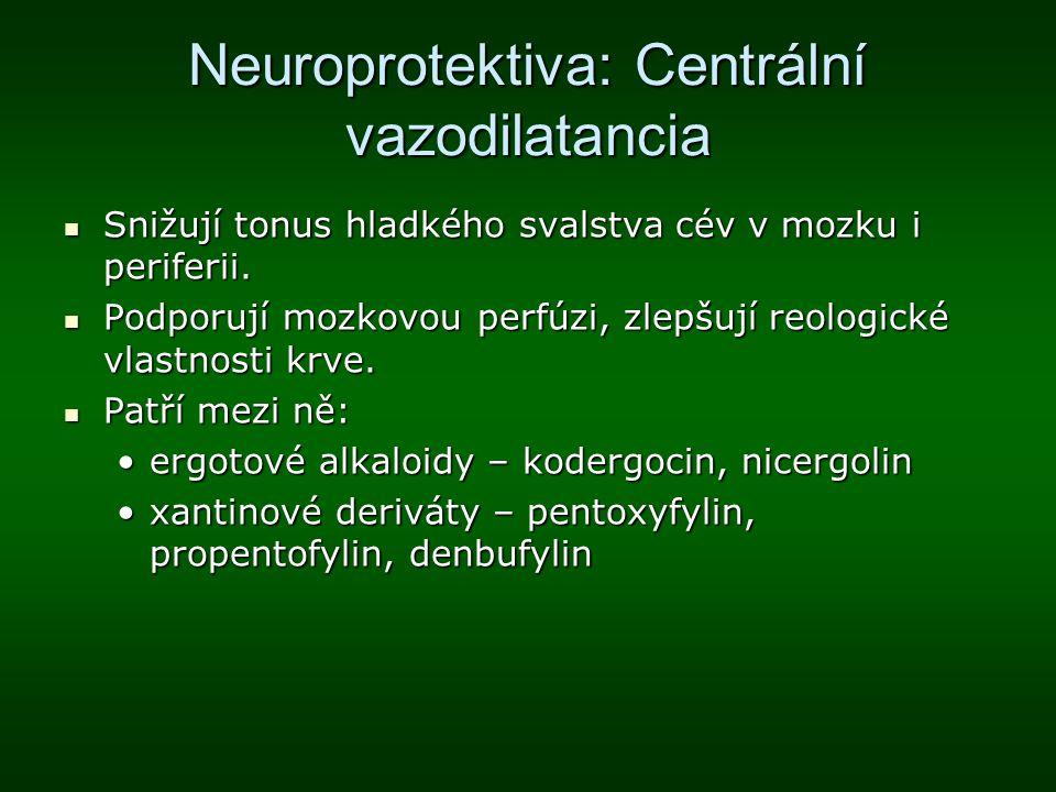 Neuroprotektiva: Centrální vazodilatancia