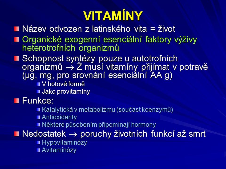 VITAMÍNY Název odvozen z latinského vita = život