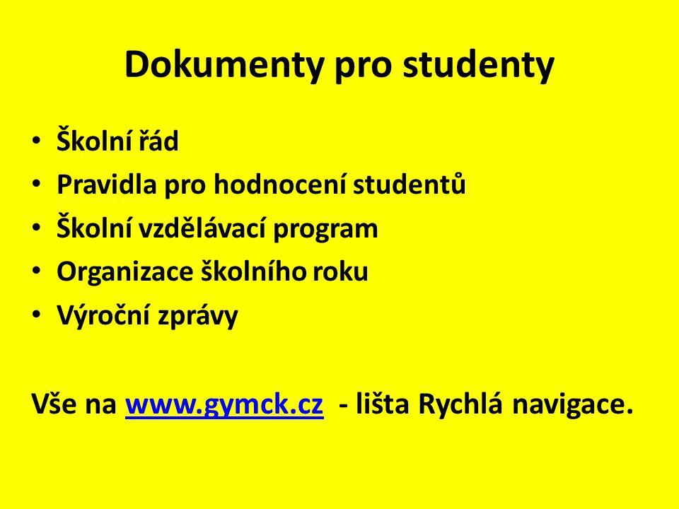 Dokumenty pro studenty