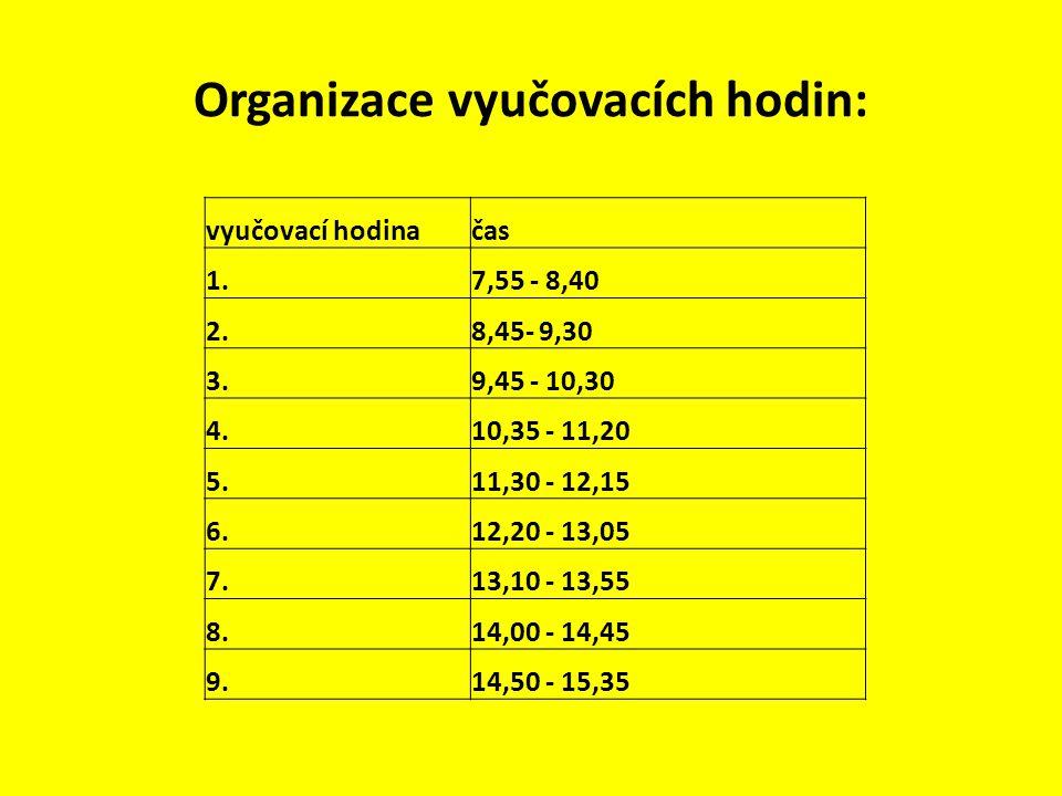 Organizace vyučovacích hodin: