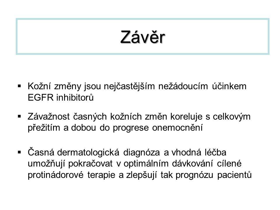 Závěr Kožní změny jsou nejčastějším nežádoucím účinkem EGFR inhibitorů