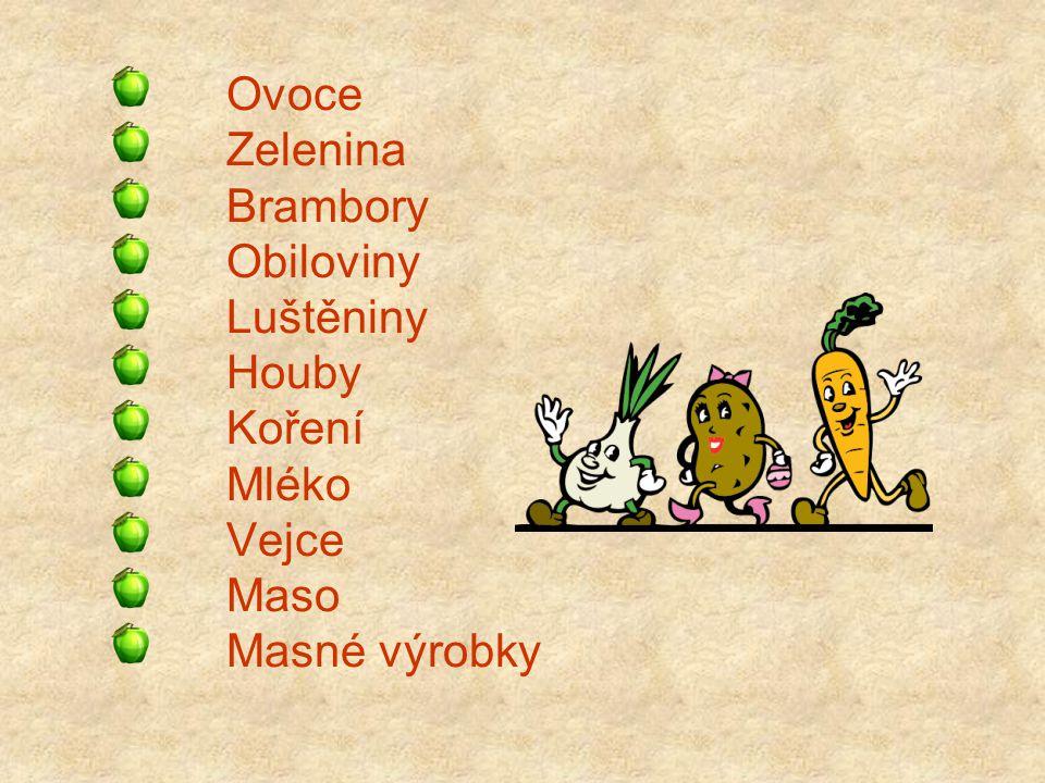 Ovoce Zelenina Brambory Obiloviny Luštěniny Houby Koření Mléko Vejce Maso Masné výrobky