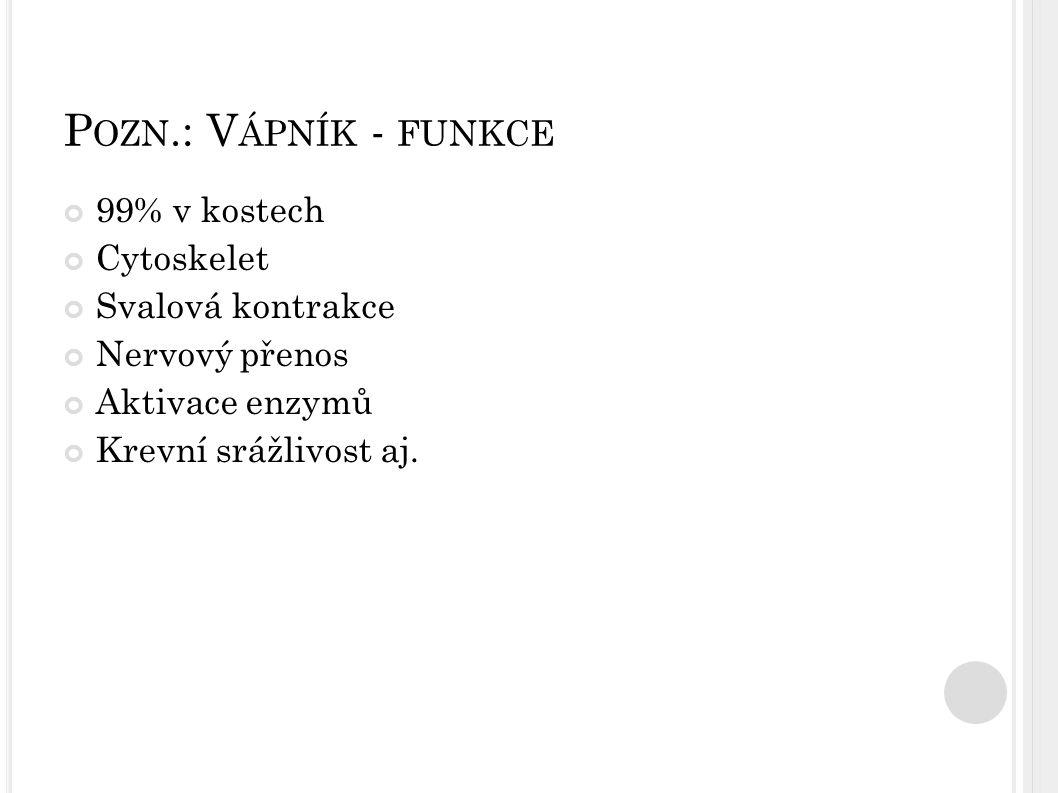 Pozn.: Vápník - funkce 99% v kostech Cytoskelet Svalová kontrakce