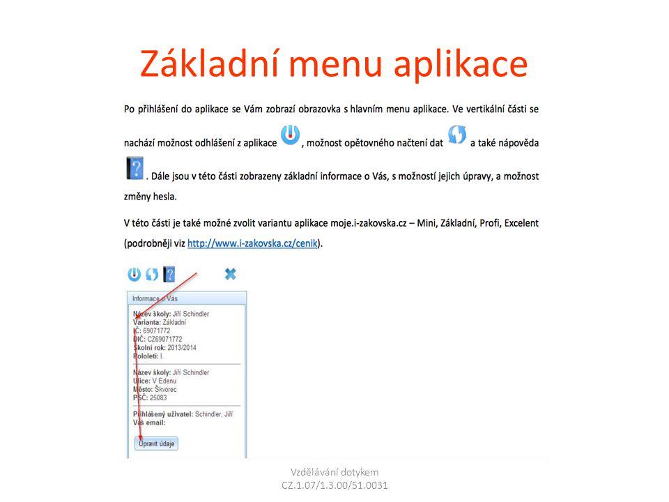 Základní menu aplikace