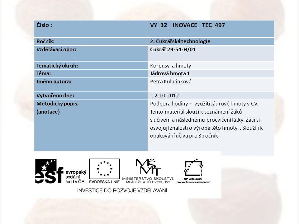 Číslo : VY_32_ INOVACE_ TEC_497 Ročník: 2. Cukrářská technologie