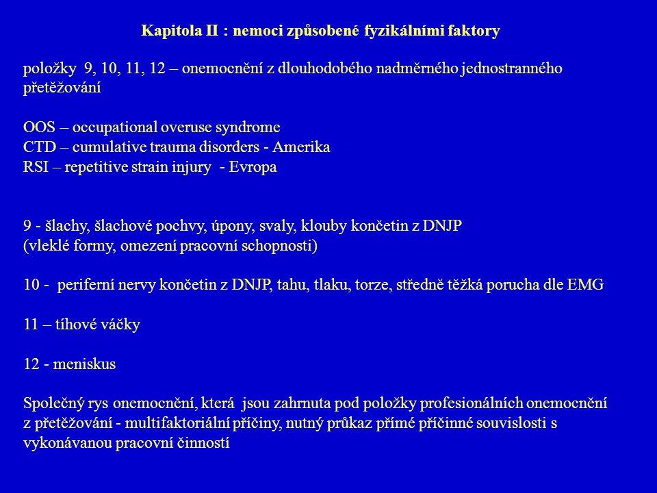 Kapitola II : nemoci způsobené fyzikálními faktory
