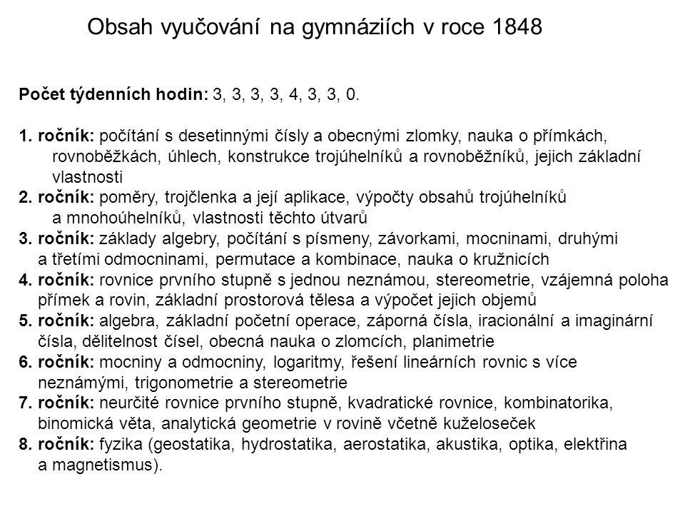 Obsah vyučování na gymnáziích v roce 1848