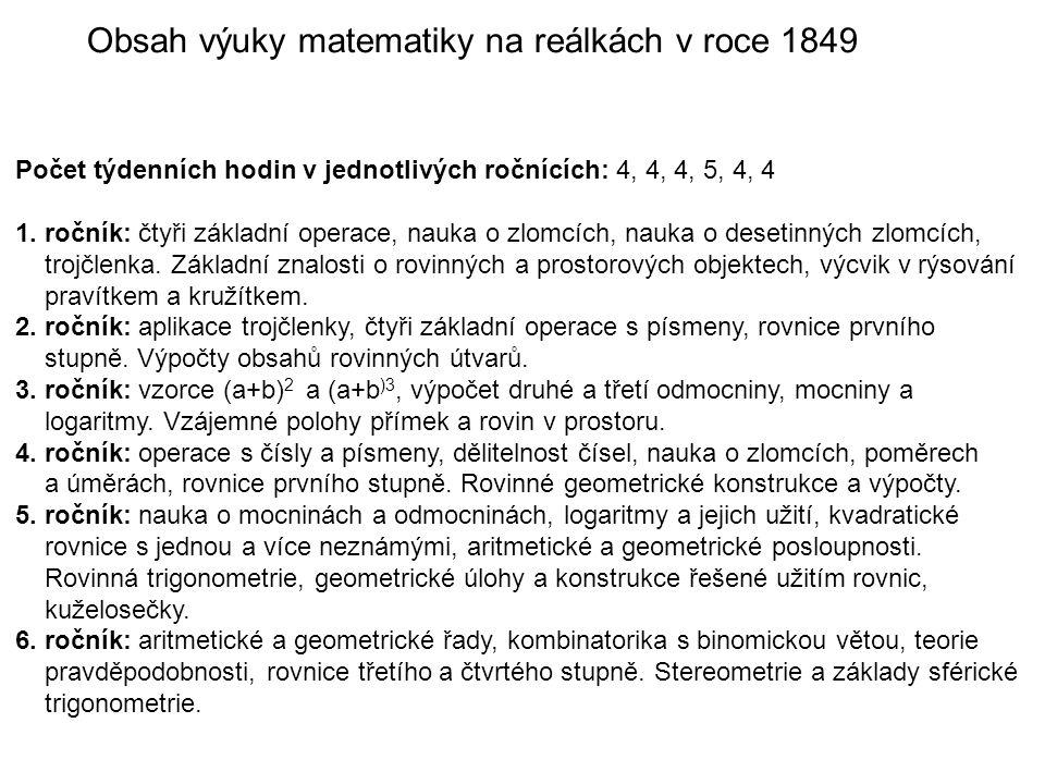 Obsah výuky matematiky na reálkách v roce 1849