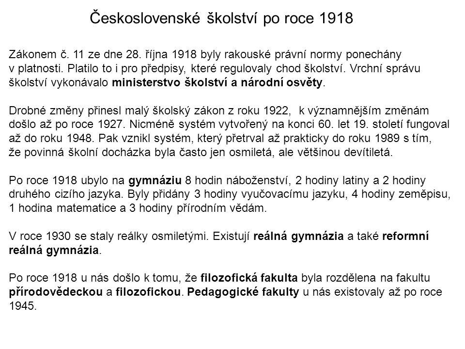 Československé školství po roce 1918
