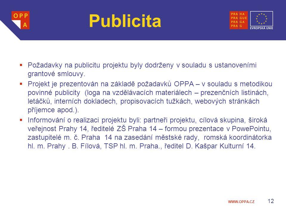Publicita Požadavky na publicitu projektu byly dodrženy v souladu s ustanoveními grantové smlouvy.