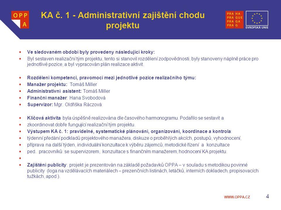 KA č. 1 - Administrativní zajištění chodu projektu