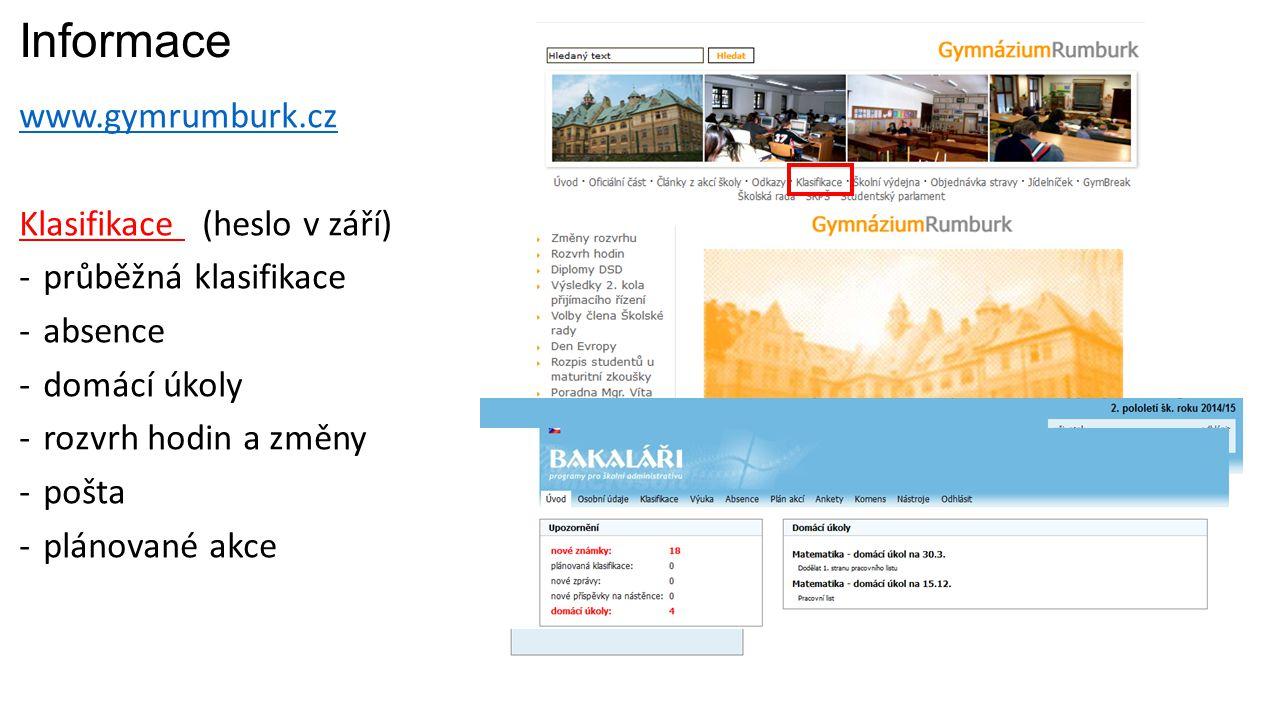 Informace www.gymrumburk.cz Klasifikace (heslo v září)