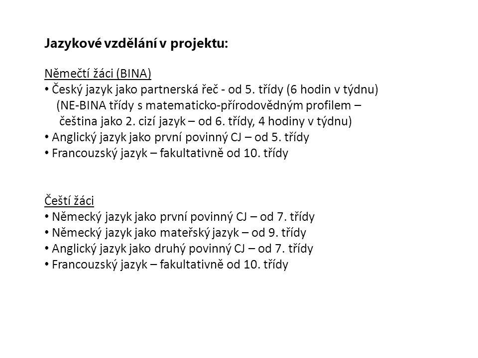Jazykové vzdělání v projektu: