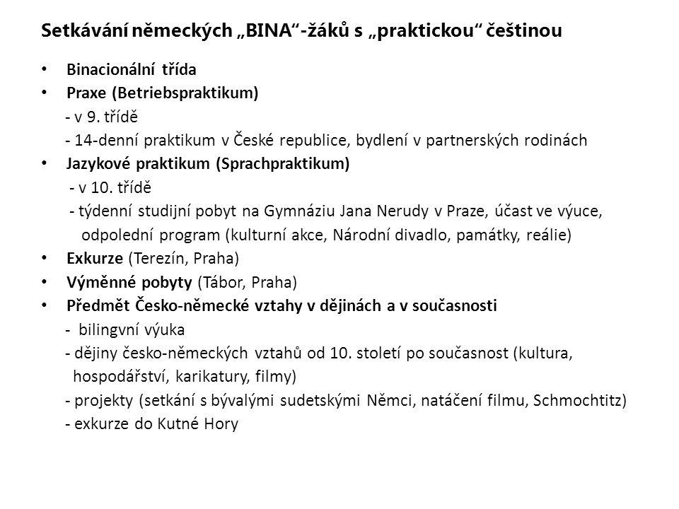 """Setkávání německých """"BINA -žáků s """"praktickou češtinou"""