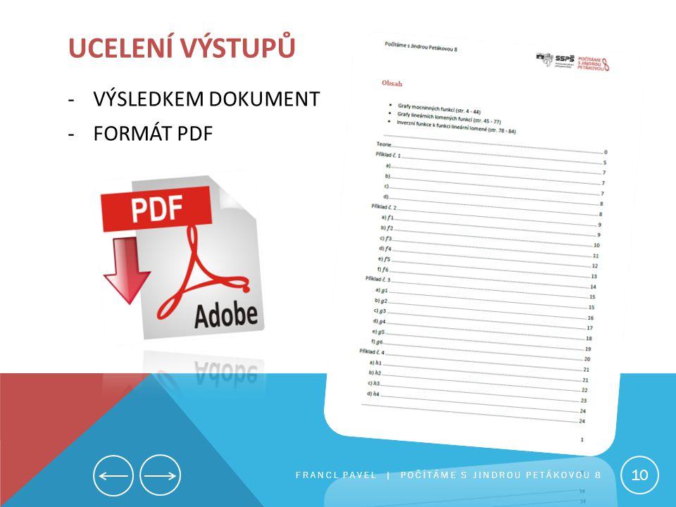 Ucelení výstupů VÝSLEDKEM DOKUMENT FORMÁT PDF