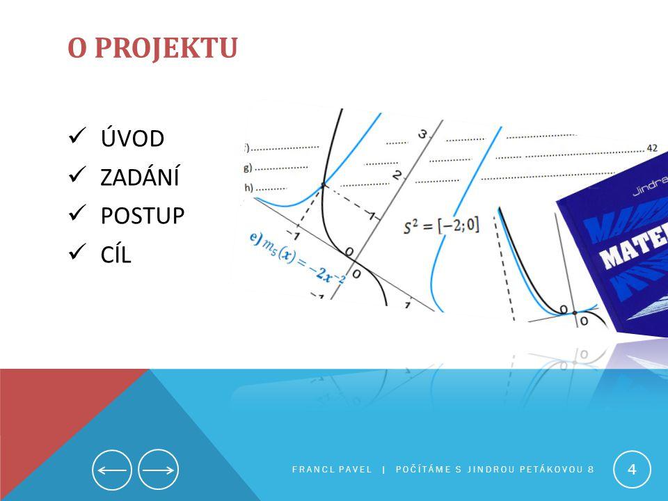 O projektu ÚVOD ZADÁNÍ POSTUP CÍL Počítáme s Jindrou Petákovu 8