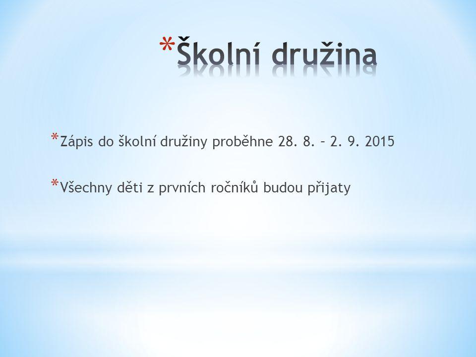 Školní družina Zápis do školní družiny proběhne 28. 8. – 2. 9. 2015
