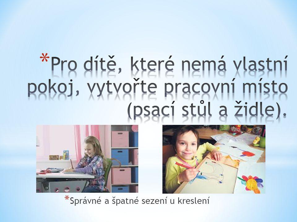 Pro dítě, které nemá vlastní pokoj, vytvořte pracovní místo (psací stůl a židle).
