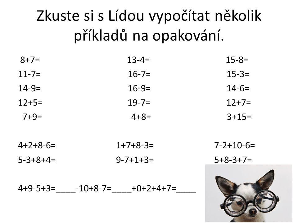 Zkuste si s Lídou vypočítat několik příkladů na opakování.