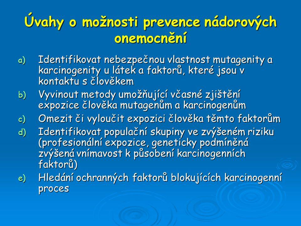 Úvahy o možnosti prevence nádorových onemocnění