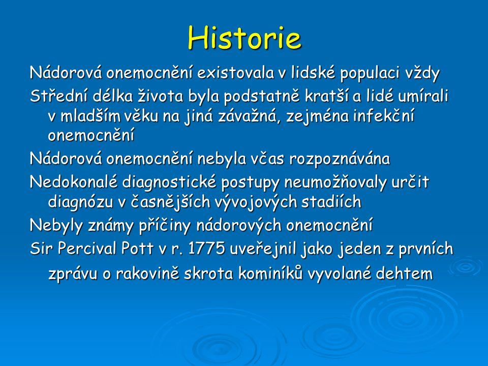 Historie Nádorová onemocnění existovala v lidské populaci vždy