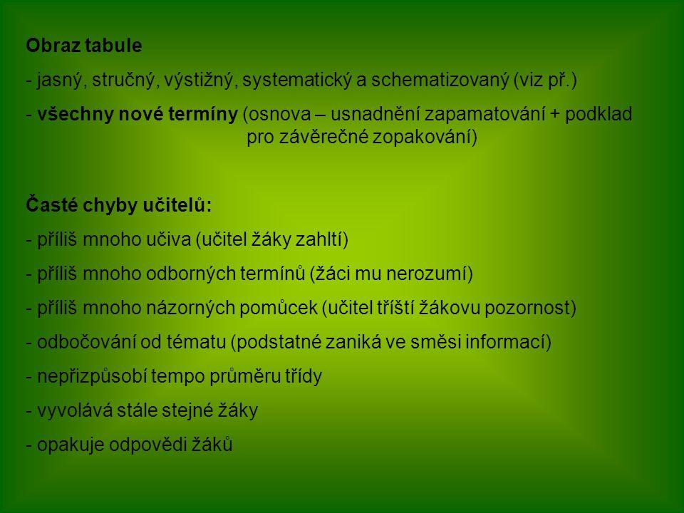 Obraz tabule jasný, stručný, výstižný, systematický a schematizovaný (viz př.)
