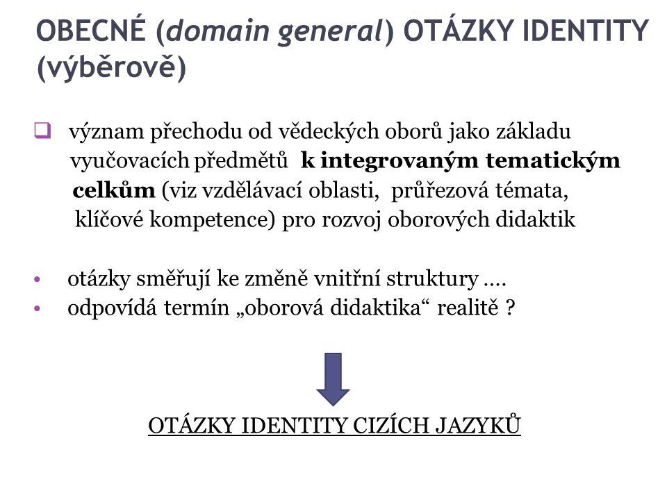 OBECNÉ (domain general) OTÁZKY IDENTITY (výběrově)