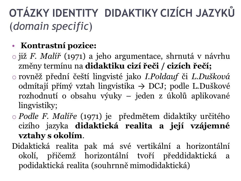 OTÁZKY IDENTITY DIDAKTIKY CIZÍCH JAZYKŮ (domain specific)