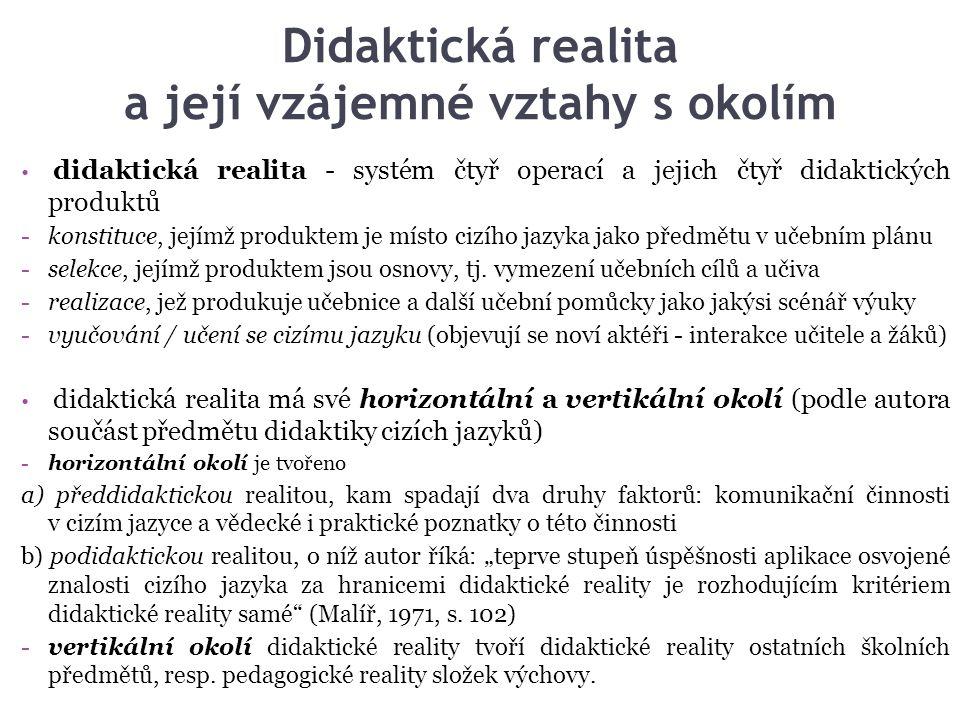 Didaktická realita a její vzájemné vztahy s okolím