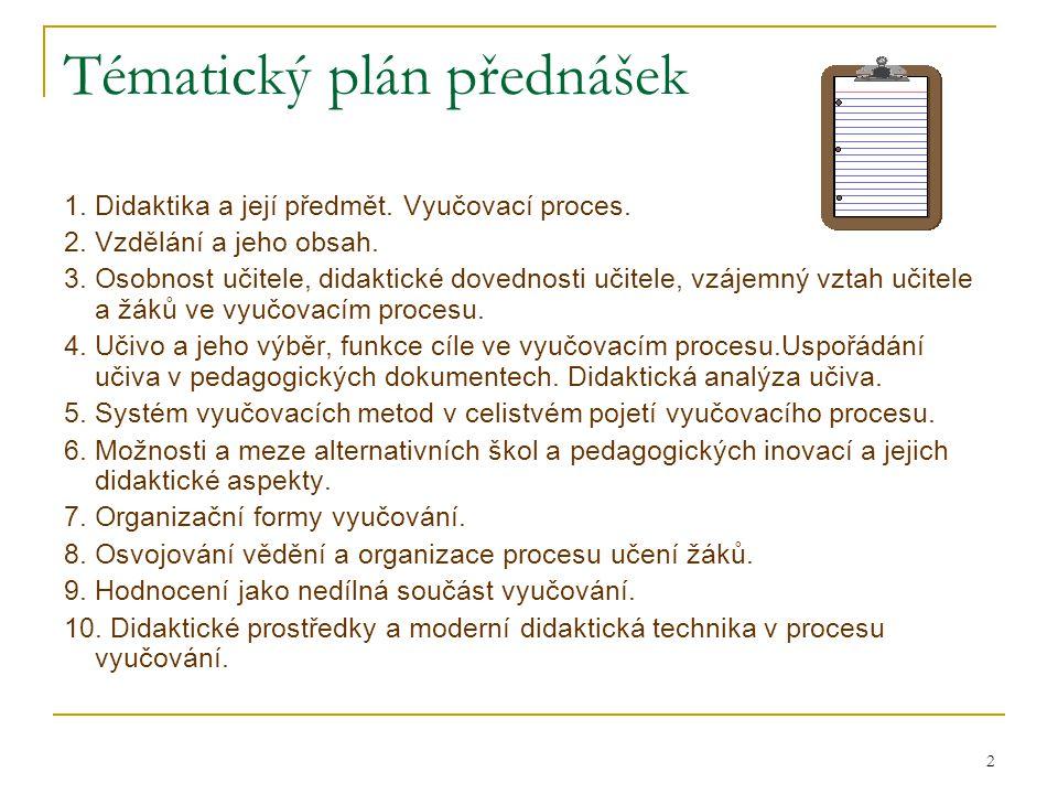 Tématický plán přednášek