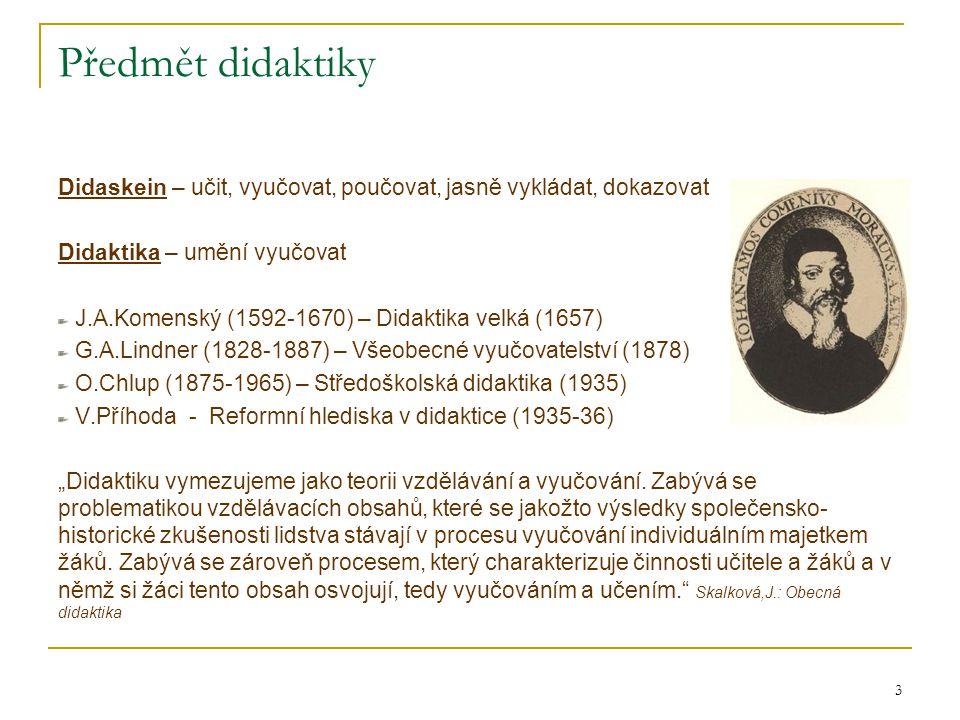 Předmět didaktiky Didaskein – učit, vyučovat, poučovat, jasně vykládat, dokazovat. Didaktika – umění vyučovat.