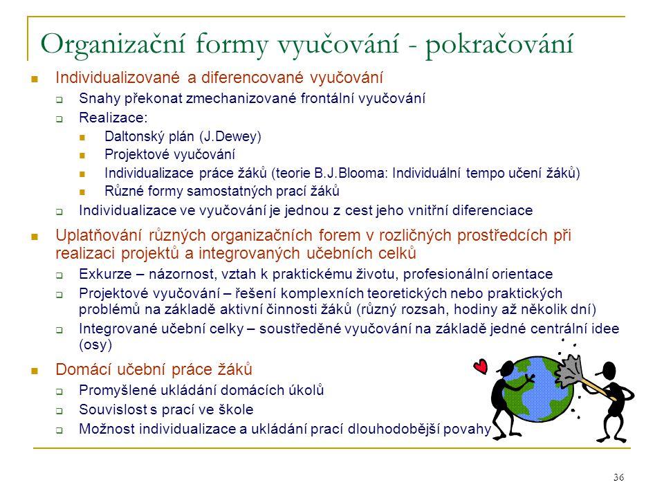 Organizační formy vyučování - pokračování