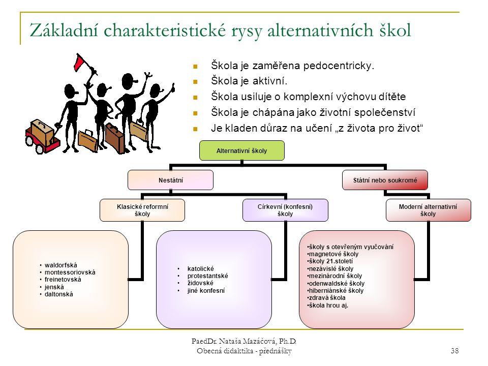Základní charakteristické rysy alternativních škol