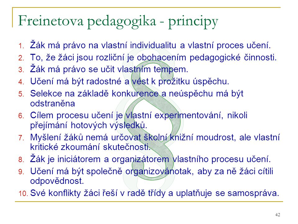 Freinetova pedagogika - principy