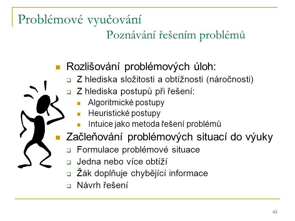 Problémové vyučování Poznávání řešením problémů