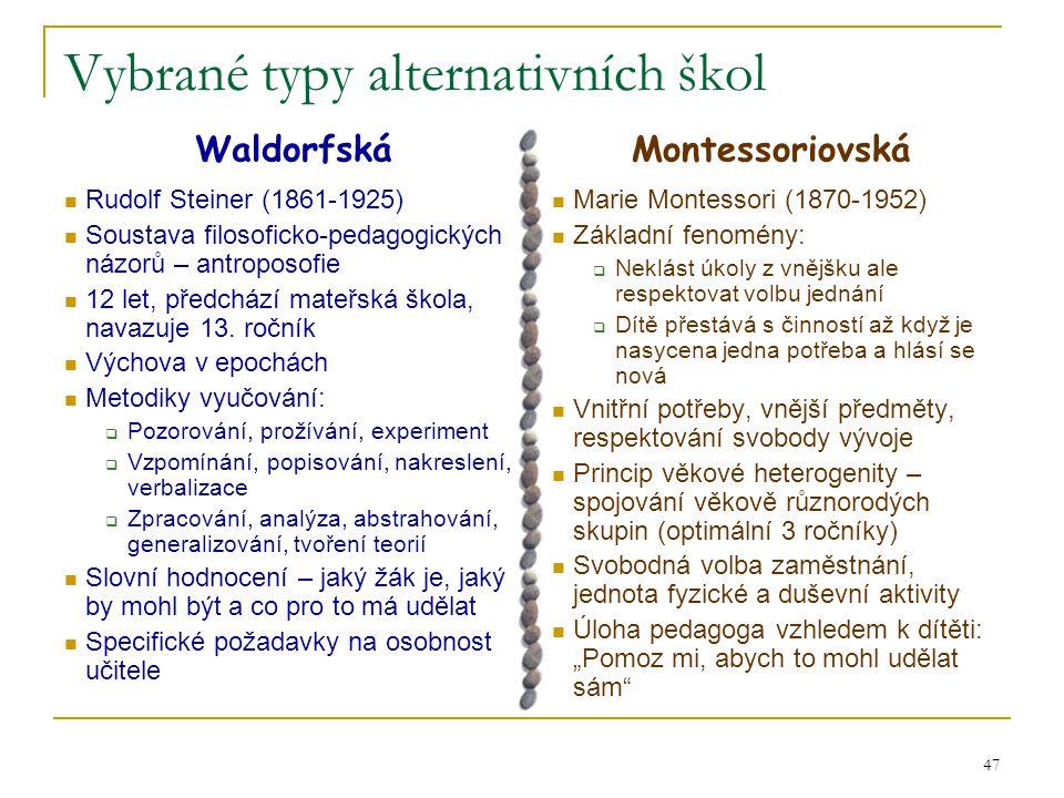 Vybrané typy alternativních škol