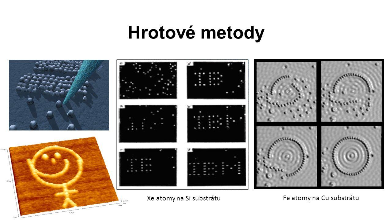 Hrotové metody Xe atomy na Si substrátu Fe atomy na Cu substrátu