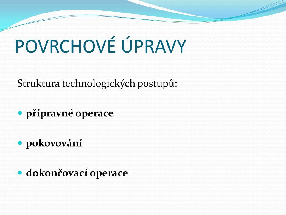POVRCHOVÉ ÚPRAVY Struktura technologických postupů: přípravné operace