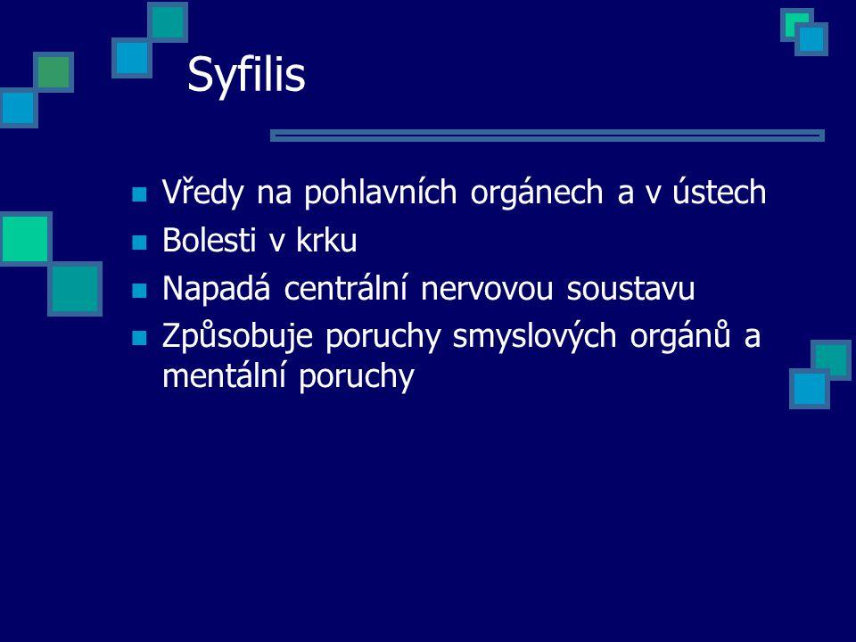 Syfilis Vředy na pohlavních orgánech a v ústech Bolesti v krku