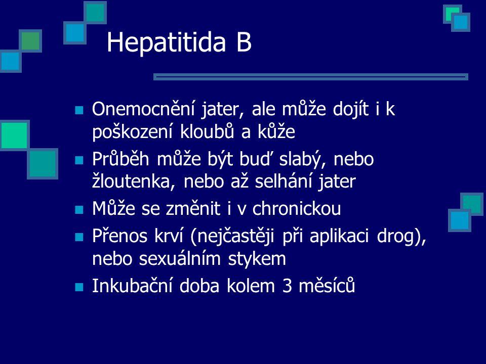 Hepatitida B Onemocnění jater, ale může dojít i k poškození kloubů a kůže. Průběh může být buď slabý, nebo žloutenka, nebo až selhání jater.
