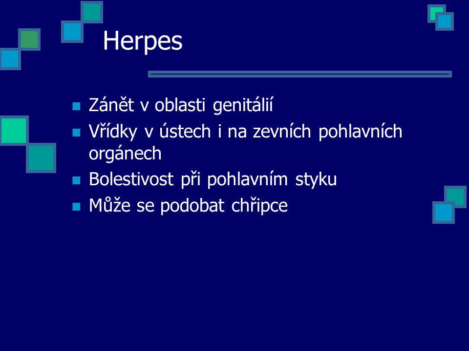 Herpes Zánět v oblasti genitálií