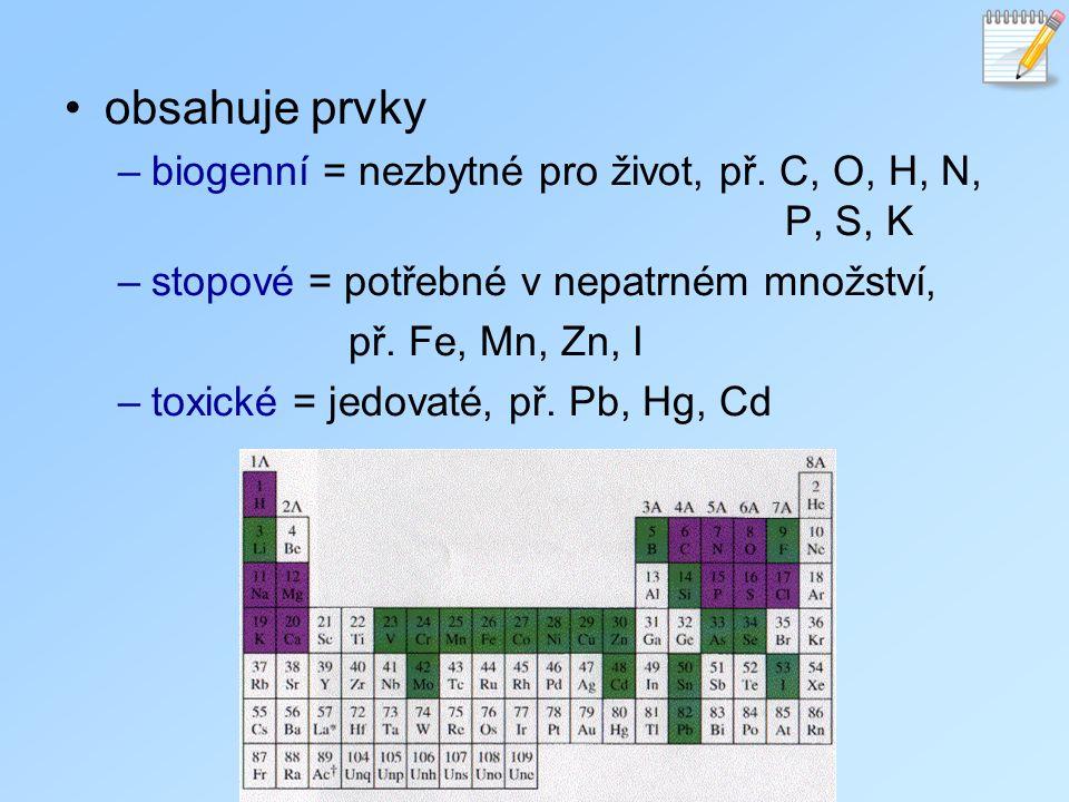obsahuje prvky biogenní = nezbytné pro život, př. C, O, H, N, P, S, K