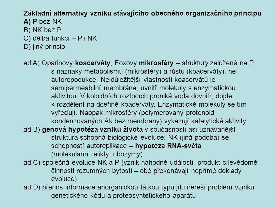 Základní alternativy vzniku stávajícího obecného organizačního principu