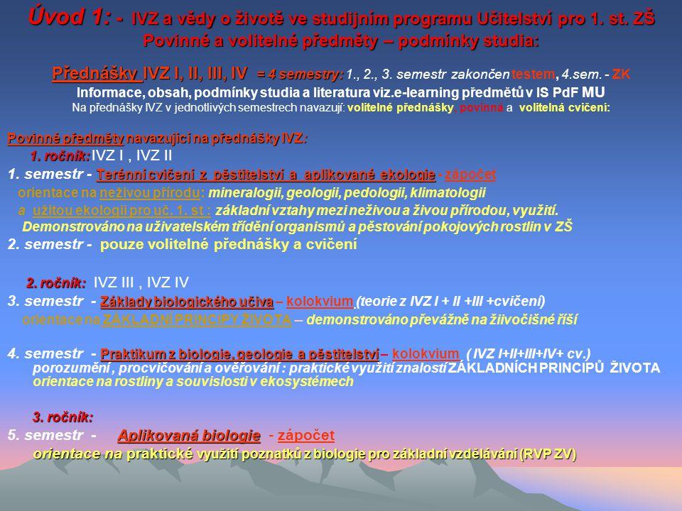 Úvod 1: - IVZ a vědy o životě ve studijním programu Učitelství pro 1
